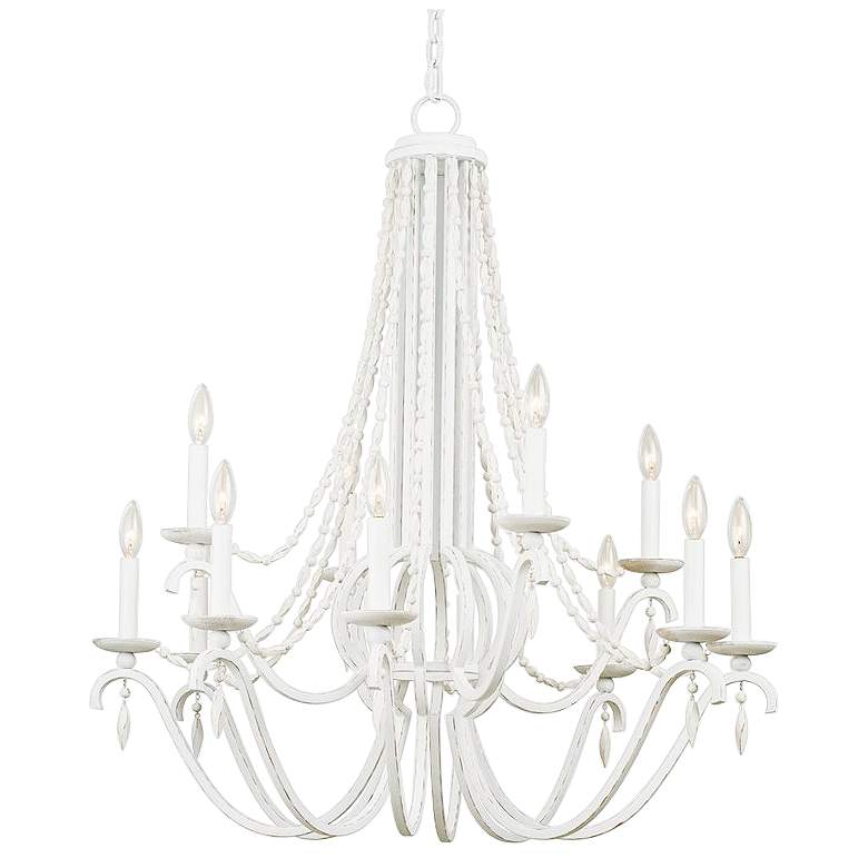 """Acadia 34"""" Wide Distressed White 12-Light 2-Tier Chandelier"""
