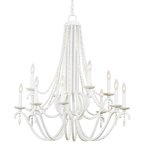 "Acadia 34"" Wide Distressed White 12-Light 2-Tier Chandelier"