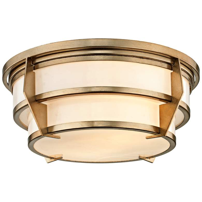 """Delano 16"""" Wide Champagne Silver Leaf Tiered Ceiling Light"""