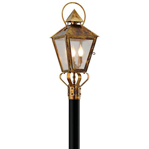 "Allston 27"" High Historic Brass Outdoor Post Light"