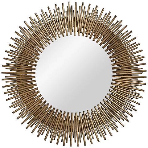 """Prescott Antiqued Gold Leaf 30 1/2"""" Round Wall Mirror"""