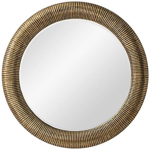 """Elton Antique Brass 42"""" Round Oversized Wall Mirror"""