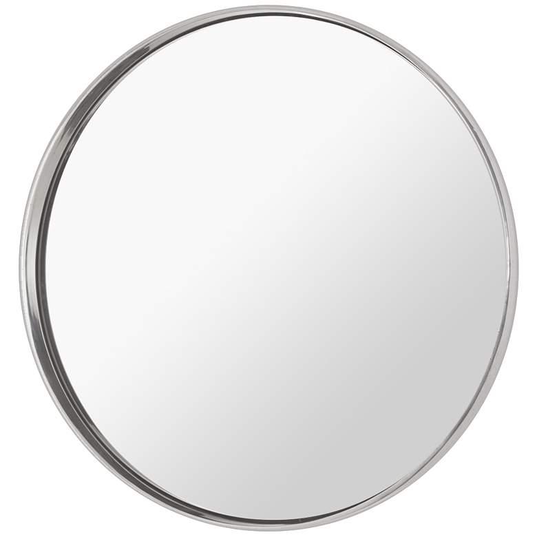 "Ollie Polished Nickel 30 1/2"" Round Wall Mirror"