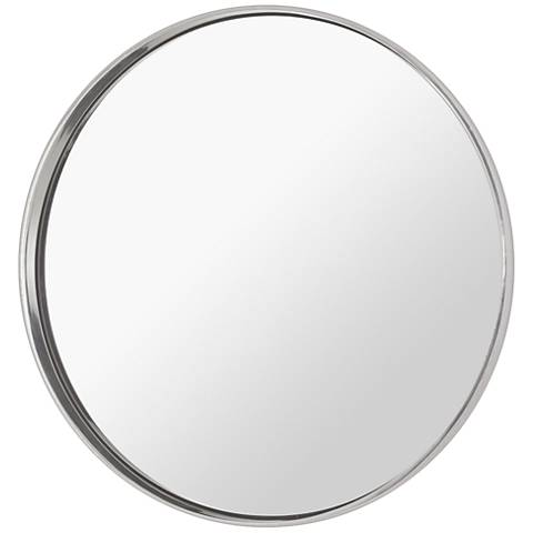 "Ollie Polished Nickel 30 1/2"" Round Wall Mirror"