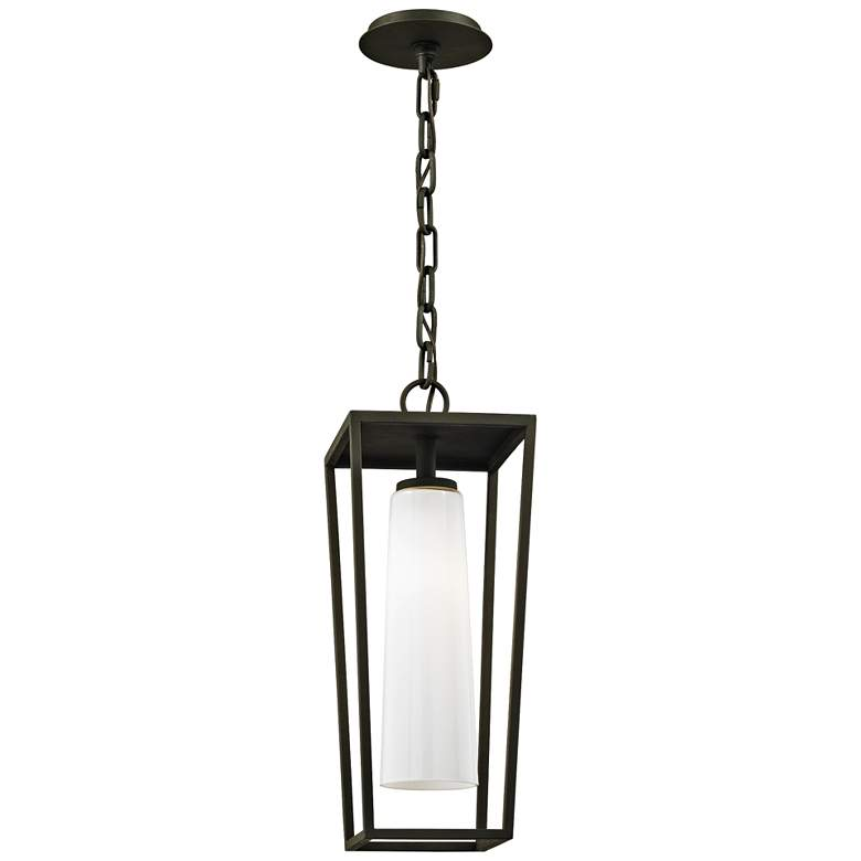 """Mission Beach 19"""" High Textured Black Outdoor Hanging Light"""