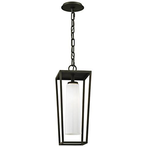 "Mission Beach 19"" High Textured Black Outdoor Hanging Light"