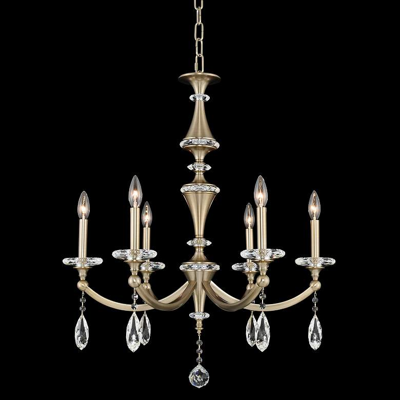 "Allegri Floridia 27"" Wide Champagne Gold 6-Light Chandelier"