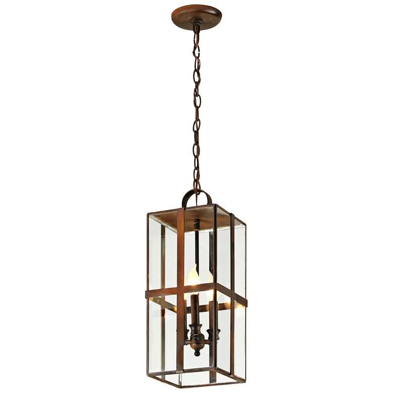 "Rutherford 21"" High Heirloom Brass Outdoor Hanging Light"