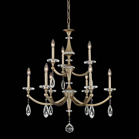 "Floridia 30 1/2""W Champagne Gold 9-Light 2-Tier Chandelier"