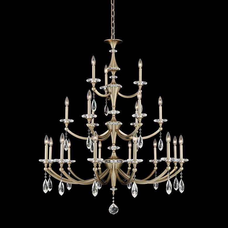 """Floridia 42"""" Wide Champagne Gold 21-Light 3-Tier Chandelier"""