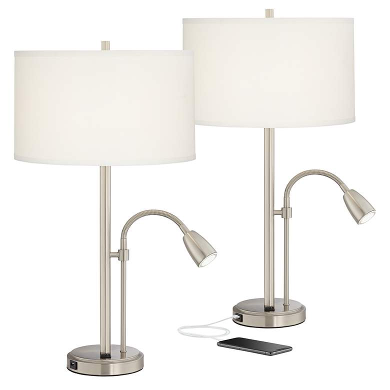 Set of 2 Traverse Modern Gooseneck LED Lamps with USB Ports