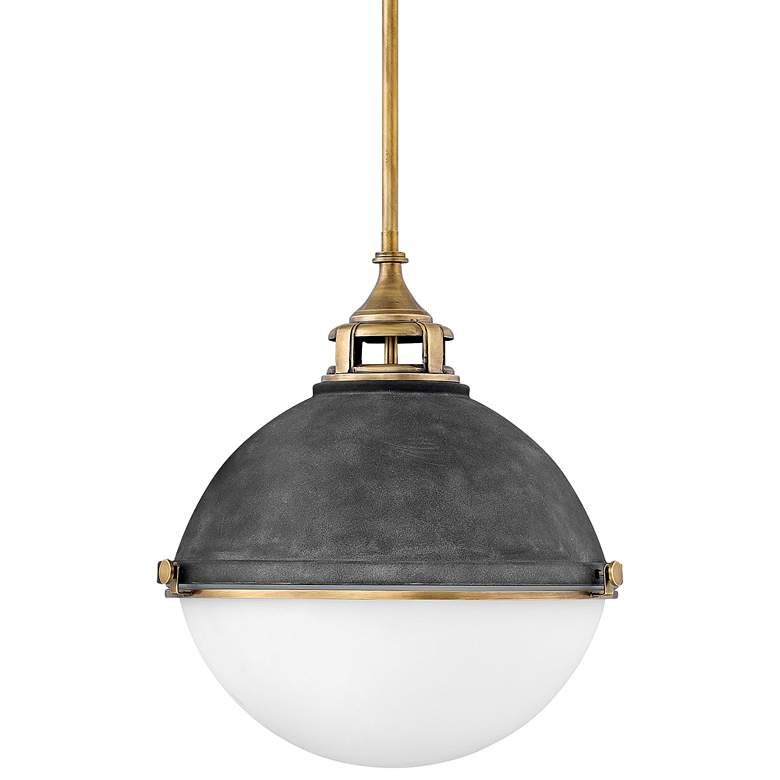 "Hinkley Fletcher 18"" Wide Aged Zinc and Gold Pendant Light"