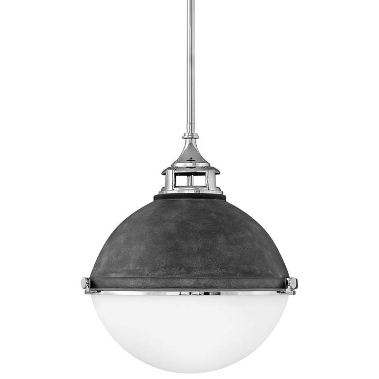 "Hinkley Fletcher 18"" Wide Aged Zinc and Silver Pendant Light"