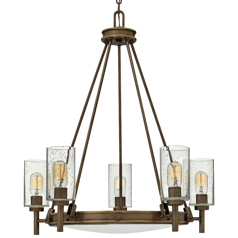 """Hinkley Collier 27""""W Light Oiled Bronze 5-Light Chandelier"""