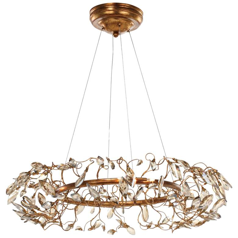"Maxim Crystal Garden 28"" Wide Gold Leaf Pendant Light"