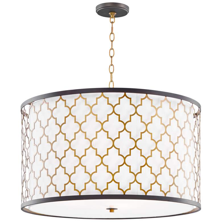 """Crest 24""""W Oil-Rubbed Bronze and Antique Brass Pendant Light"""