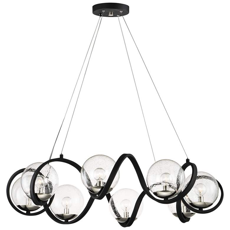 """Curlicue 35"""" Wide Black and Polished Nickel 8-Light Pendant"""
