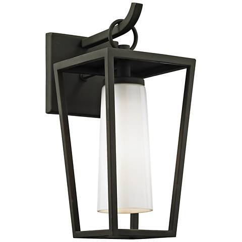 "Mission Beach 13 1/2"" High Textured Black Outdoor Wall Light"