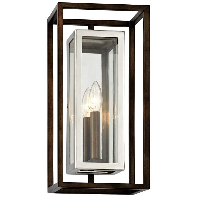 """Morgan 15""""H Bronze and Polished Stainless Outdoor Wall Light"""