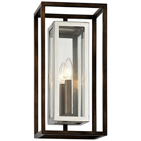 "Morgan 15""H Bronze and Polished Stainless Outdoor Wall Light"