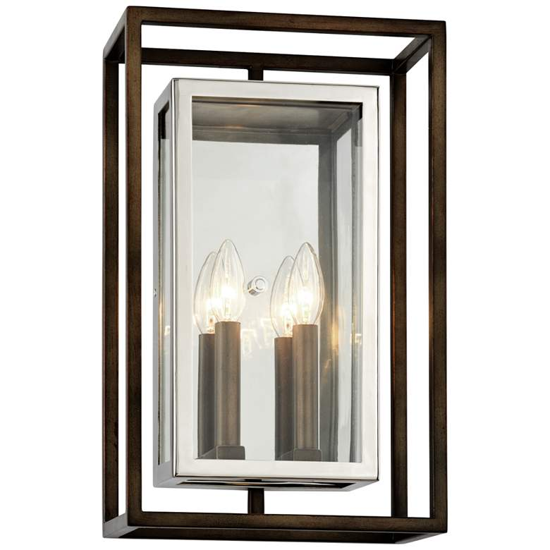 "Morgan 17""H Bronze and Polished Stainless Outdoor Wall Light"