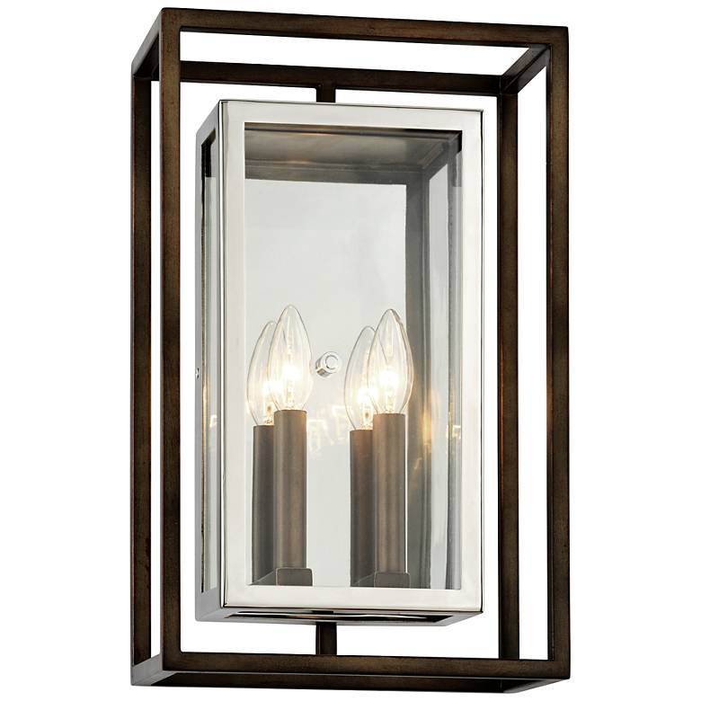"""Morgan 17""""H Bronze and Polished Stainless Outdoor Wall Light"""