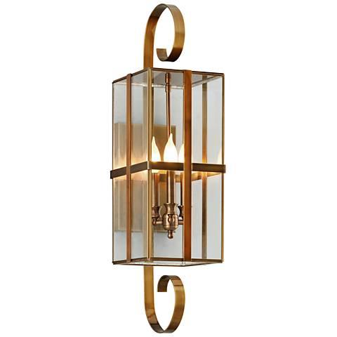 "Rutherford 30"" High Heirloom Brass Outdoor Wall Light"
