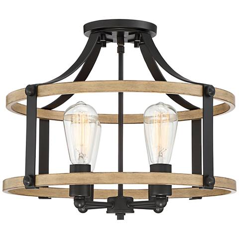 """Buford 18"""" Wide Wood and Metal 4-Light Ceiling Light"""