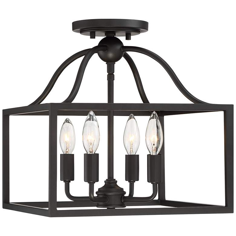 "Elle 13"" Wide Black Open Cage 4-Light Ceiling Light"