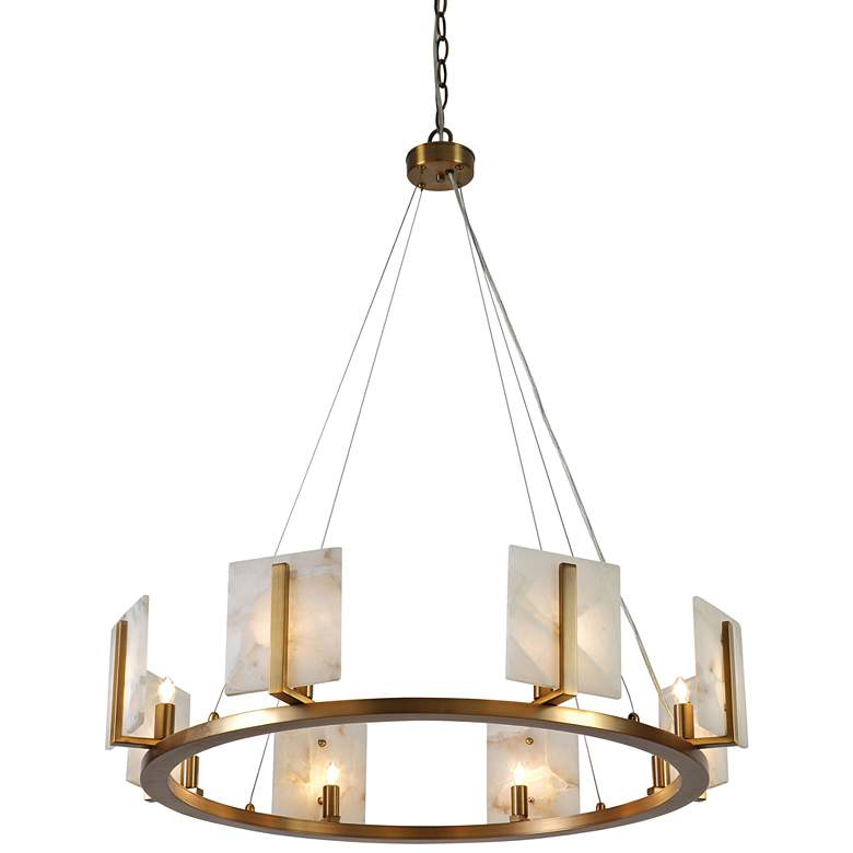 "Halo 33""W Brushed Silver and Alabaster 8-Light Chandelier"