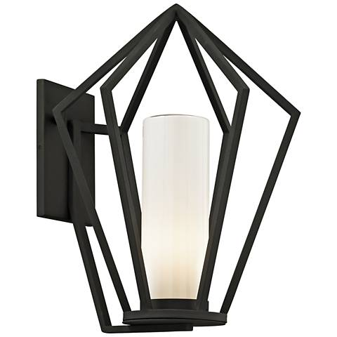 "Whitley Heights 19"" High Textured Black Outdoor Wall Light"