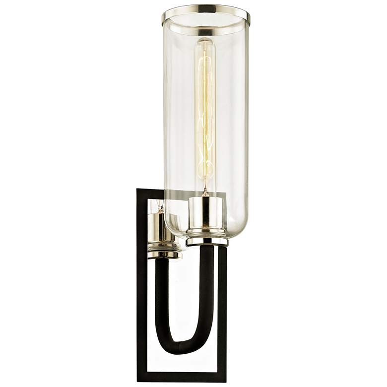"""Aeon 19 3/4""""H Carbide Black and Polished Nickel Wall Sconce"""