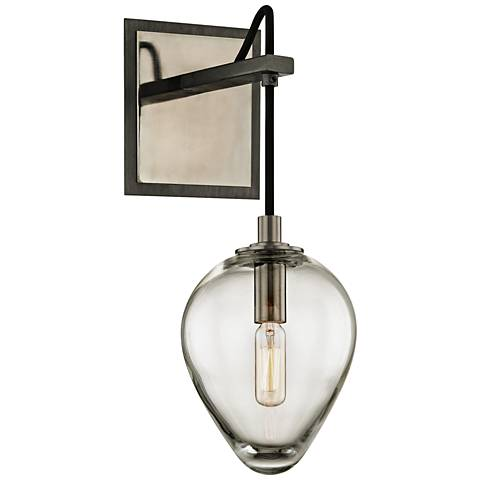 "Brixton 15"" High Gunmetal Glass Wall Sconce"