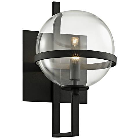 "Elliot 11 1/2"" High Textured Black Glass Orb Wall Sconce"