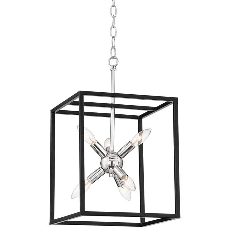 "Rockford 12"" Wide Black and Polished Nickel 6-Light Pendant"