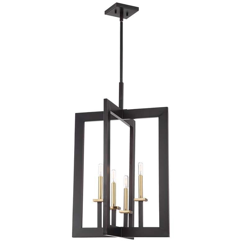 "Haven 20 1/4""W Bronze and Warm Brass 4-Light Foyer Pendant"
