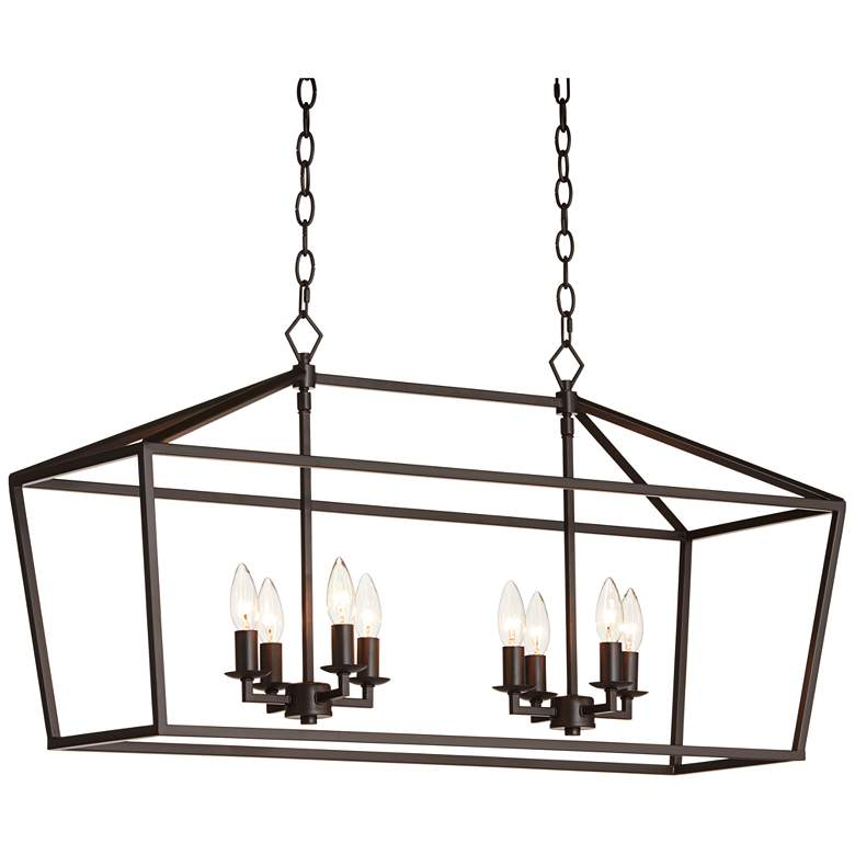 "Madison 36"" Wide Bronze 8-Light Kitchen Island Light Pendant"