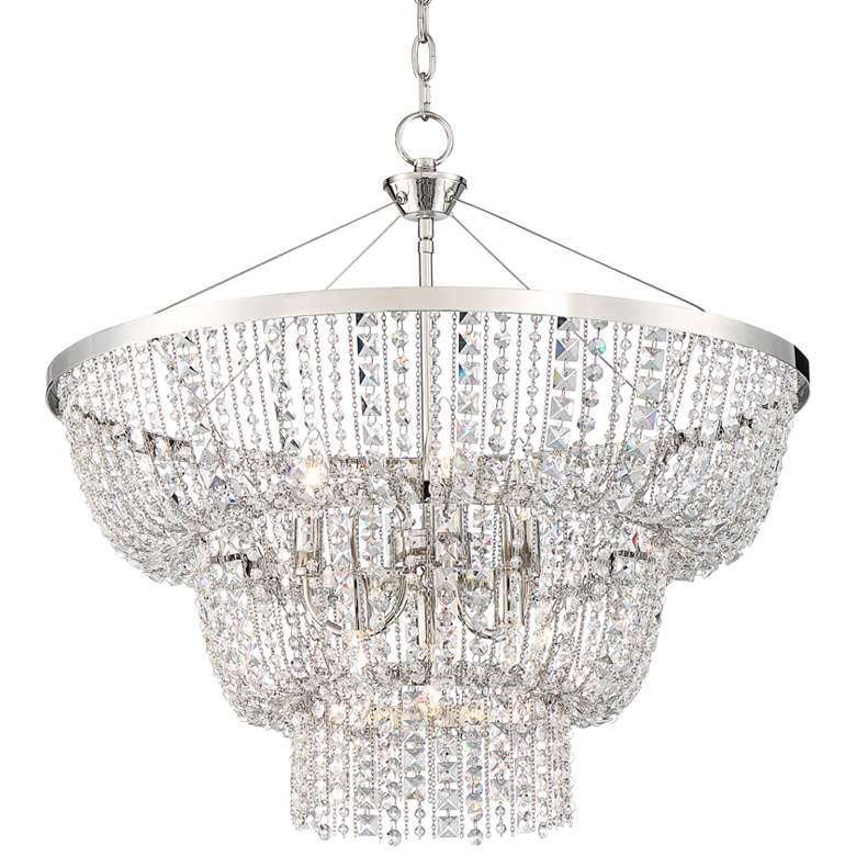 """Lily 25 1/4"""" Wide Satin Nickel and Crystal Chandelier"""