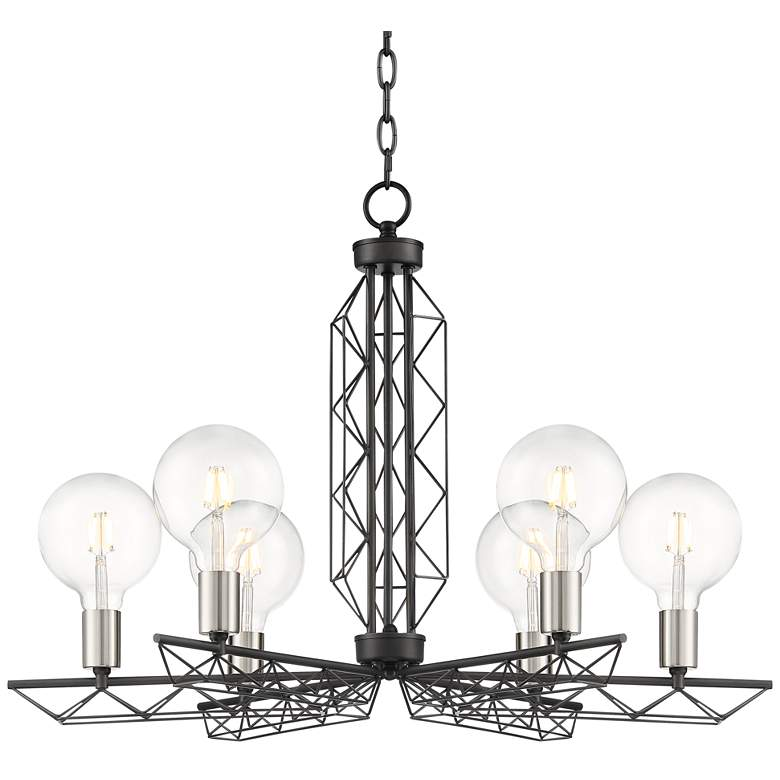 """Whirl 30"""" Wide Black and Satin Nickel 6-Light Chandelier"""