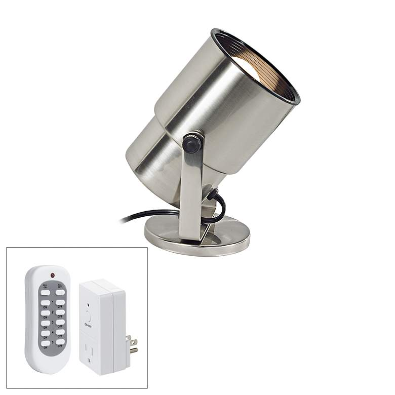 """Brushed Nickel 8"""" High Accent Uplight with Remote Control"""