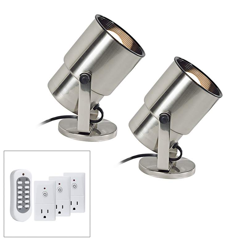 "Brushed Nickel 8"" High Uplight Set of 2 with Remote Control"