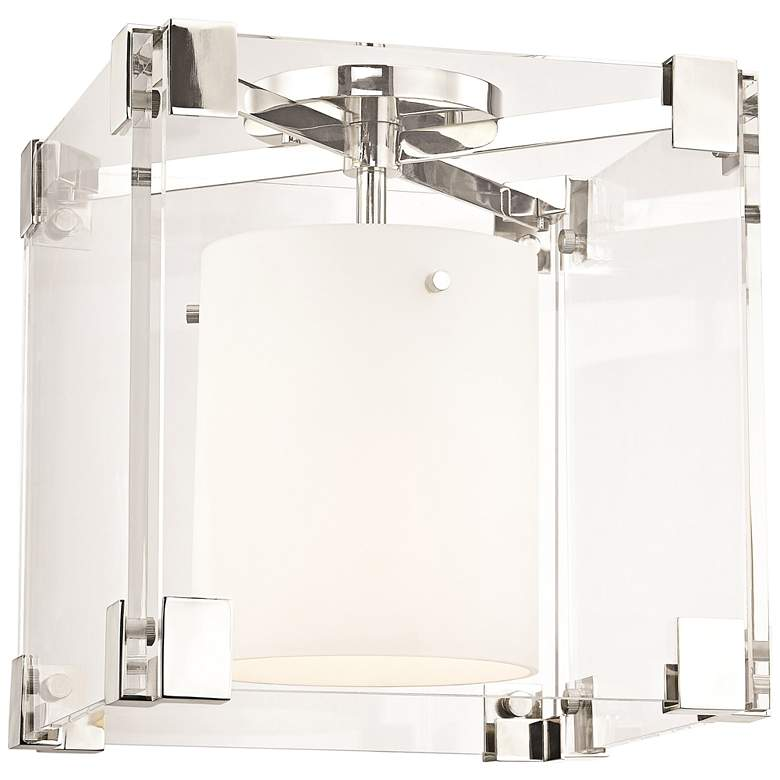 """Hudson Valley Achilles 13""""W Polished Nickel Ceiling Light"""