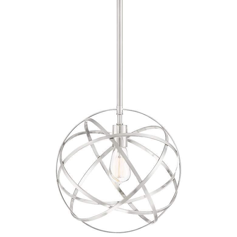 "Industrial Atom 13"" Wide Brushed Nickel Orb Pendant Light"