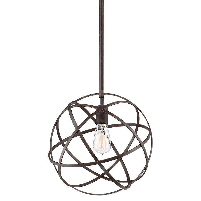 """Industrial Atom 12 3/4"""" Wide Bronze Orb Pendant Light"""
