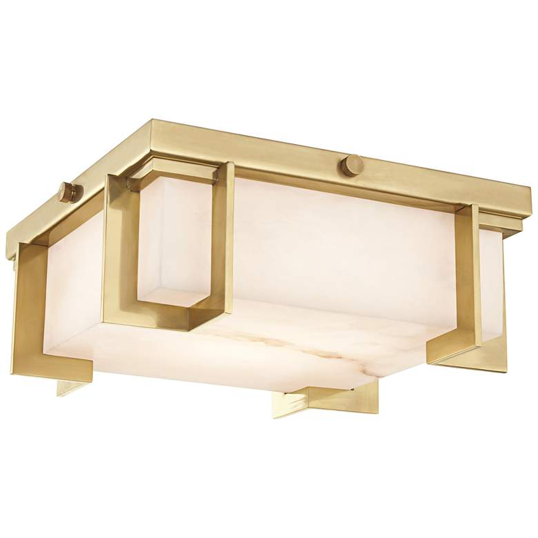 "Hudson Valley Delmar 10 1/4""W Aged Brass LED Ceiling Light"