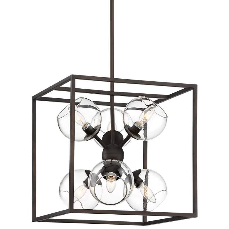 """Sputnik-In-Cube 16"""" Wide Bronze 6-Light Pendant Chandelier"""