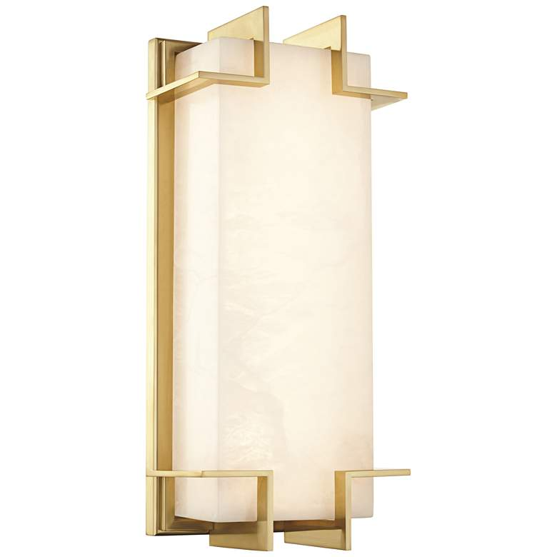 """Hudson Valley Delmar 14 3/4"""" High Aged Brass LED Wall Sconce"""