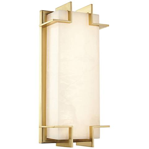 "Hudson Valley Delmar 14 3/4"" High Aged Brass LED Wall Sconce"