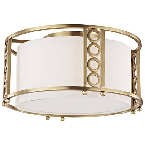 """Hudson Valley Infinity 16"""" Wide Aged Brass Ceiling Light"""
