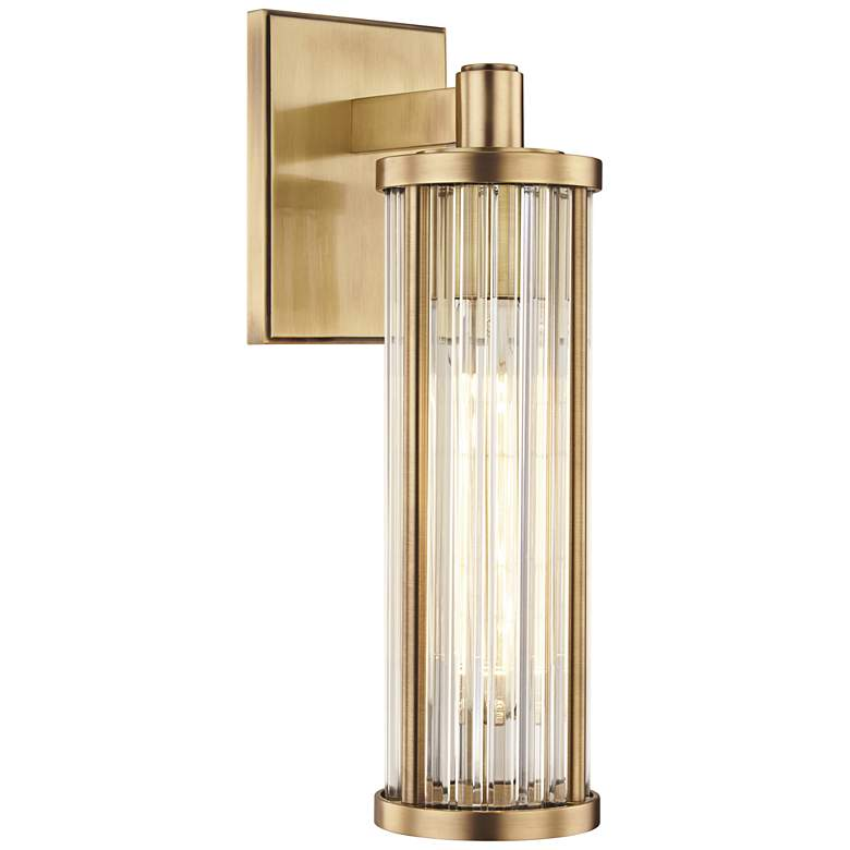 """Hudson Valley Marley 14 1/4"""" High Aged Brass Wall Sconce"""